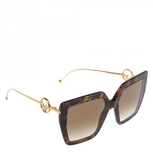 Fendi Dark Havana / Brown Gradient FF0410/S Oversized Square Sunglasses