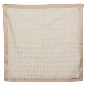 Fendi Beige FF Diamond Patterned Cotton Handkerchief