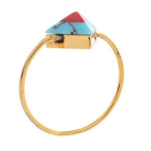 Fendi Red/Blue Resin Rainbow Pyramid Gold Tone Ring L