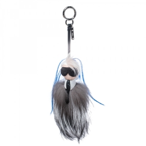 Fendi Monochrome Fox & Mink Fur Mini Karlito Bag Charm