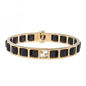 Fendi Black Leather Interwoven Gold Tone Cuff Bracelet M