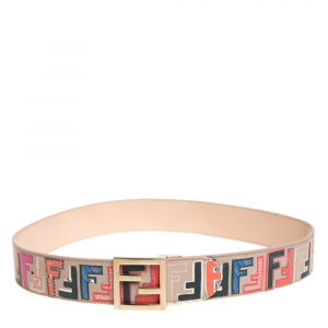 Fendi Multicolor Zucca Coated Canvas FF Logo Belt 90CM