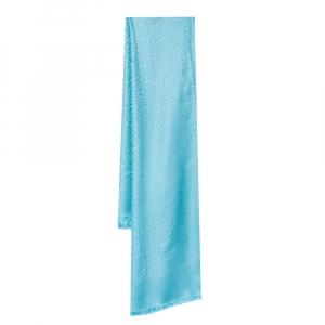 Fendi Light Blue FF Jacquard Silk & Wool Shawl