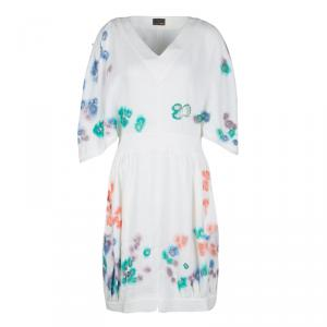 Fendi White Linen Cutout Detail V-Neck Dress S - used