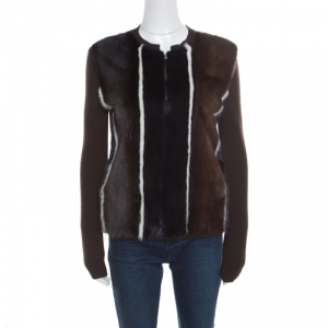 Fendi Brown Stretch Wool Mink Fur Paneled Zip Front Sweater S - used