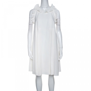 Fendi Off White Silk Ruffle Detail Pleated Short Dress S - used