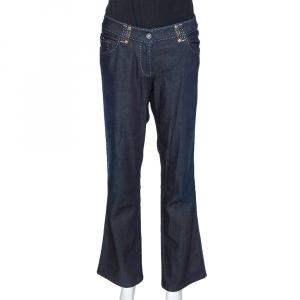 Fendi Indigo Denim & Leather Trim Straight Leg Jeans L