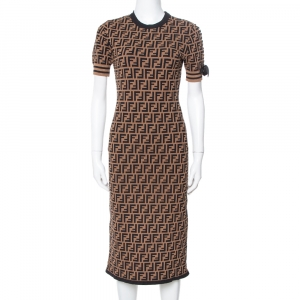 Fendi Brown Zucca Monogram Pattern Knit Fitted Dress S