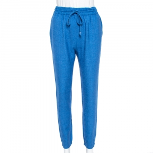 Fendi Blue Wool & Silk Elasticized Waist Trousers S