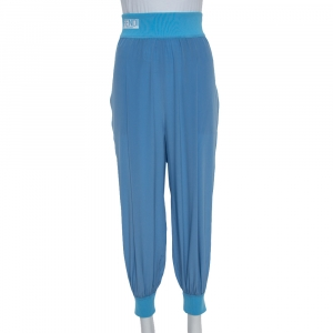 Fendi Blue Silk Side Stripe Detail Tapered Trousers M
