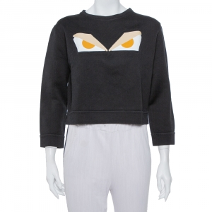 Fendi Black Cotton Monster Eye Print Cropped Sweatshirt S
