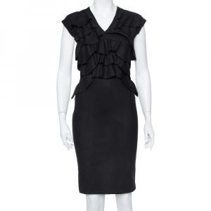 Fendi Black Wool Ruffle Detail Sheath Dress S - used