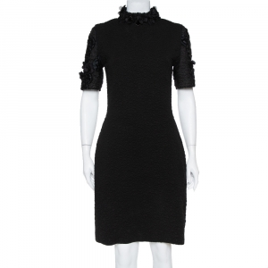Fendi Black Embossed Knit Applique Detail Cloque Dress M - used