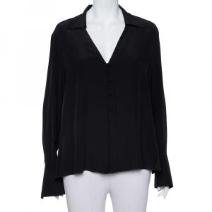 Fendi Black Silk V Neck Collared Button Front Shirt L