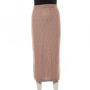 Fendi Beige Zucca Monogram Knit Midi Skirt S