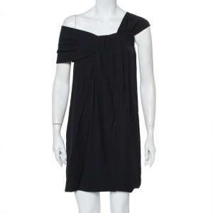 Fendi Black Crepe Pleated One Shoulder Mini Dress S