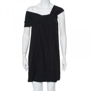 فستان ميني فندي كريب أسود بطيات بكتف واحد مقاس صغير - سمول