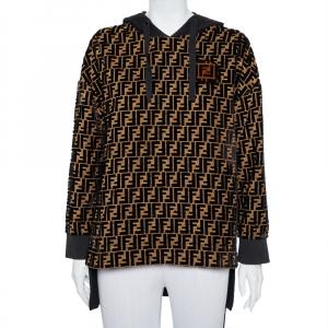 Fendi Black & Gold Velour Logo Monogram Detail Hooded Sweatshirt S