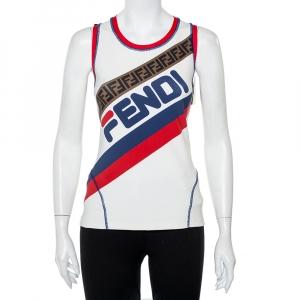 Fendi Mania Multicolor Knit Logo Printed Tank Top M