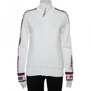 Fendi White Logo Strip Detail Knit Zipper Front Jacket M