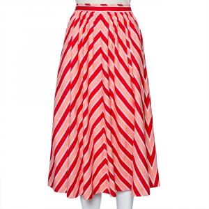 Fendi Pink Striped Printed Cotton Midi Skirt S