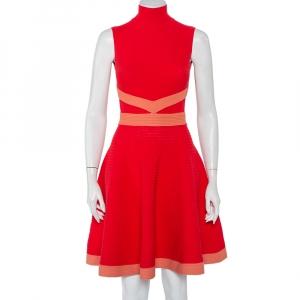 Fendi Red Rib Knit Contrast Trim High Neck Sleeveless Skater Dress S - used