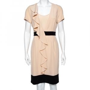 Fendi Beige Silk Contrast Detail Ruffled Midi Dress M