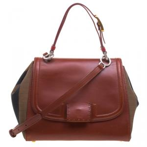 Fendi Copper/Tobacco Leather and Pequin Canvas Silvana Top Handle Bag