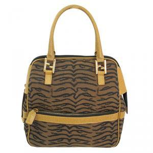 Fendi Bi Color Canvas/Leather Top Handle Bag