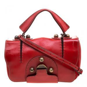 Fendi Red Patent Leather Secret Code Top Handle Bag