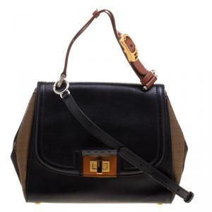 Fendi Black/Tobacco Leather and Pequin Canvas Silvana Top Handle Bag