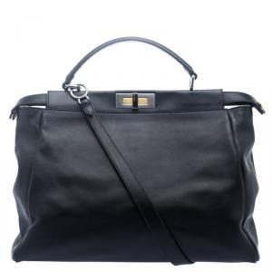 Fendi Black Leather with Python Lining Large Peekaboo Top Handle Bag