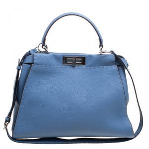 Fendi Blue Selleria Leather Medium Peekaboo Top Handle Bag