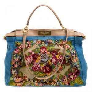 Fendi Blue/Beige Fabric Large Cross Stitch Peekaboo Bag