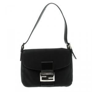 Fendi Black Fabric Baguette Shoulder Bag