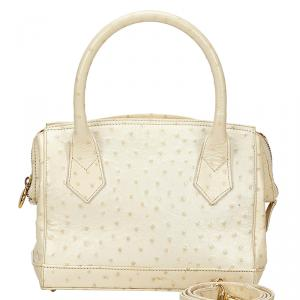 Fendi Ivory Ostrich Embossed Leather Satchel Bag