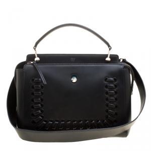 Fendi Black Leather Dotcom Satchel