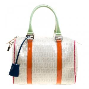 Fendi Beige/Multicolor Zucchino Sequin Canvas and Leather Bauletto Boston Bag