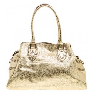 Fendi Gold Leather Du Jour Satchel
