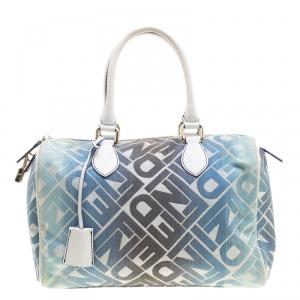 Fendi Blue /White Logo Print Canvas Boston Bag
