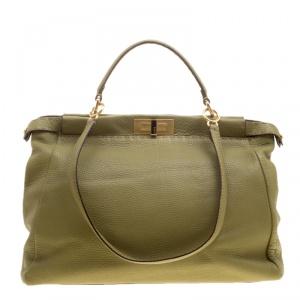 Fendi Green Selleria Leather Large Peekaboo Top Handle Bag