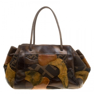 Fendi Brown Zucca Canvas and Leather Patchwork Satchel