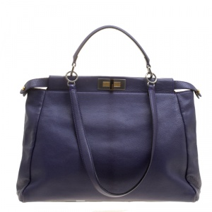 Fendi Purple Leather Large Peekaboo Top Handle Bag