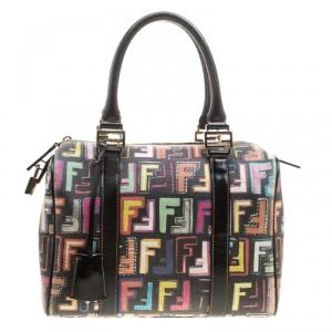 Fendi Multicolor Coated Canvas Forever Bauletto Boston Bag