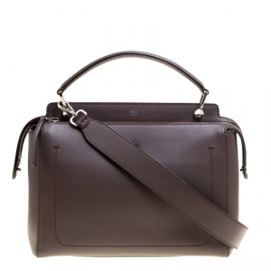 Fendi Brown Leather Dotcom Top Handle Bag