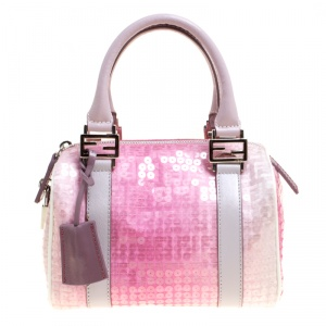 Fendi Pink Zucchino Canvas and Sequins Mini Forever Bauletto Boston Bag