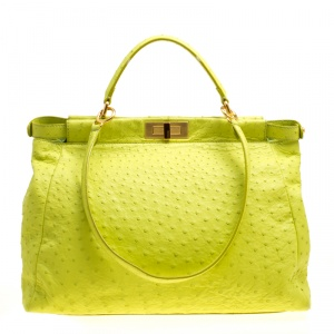 Fendi Neon Green Ostrich Large Peekaboo Top Handle Bag