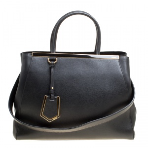 Fendi Black Leather 2Jours Top Handle Bag