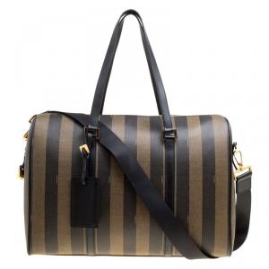 Fendi Black and Tobacco Striped Coated Canvas Spalmati Duffel Bag