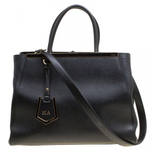 Fendi Black Saffiano Leather 2Jours Top Handle Bag